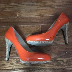 Nine West orange patent leather platform heels